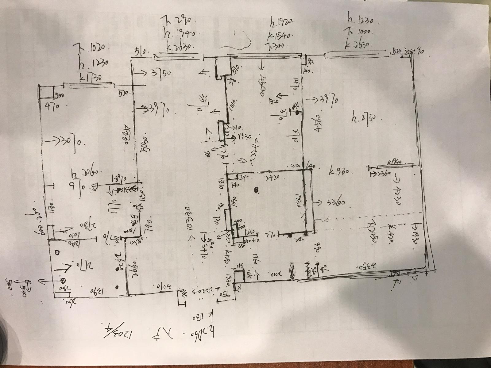 单线手绘量房草图