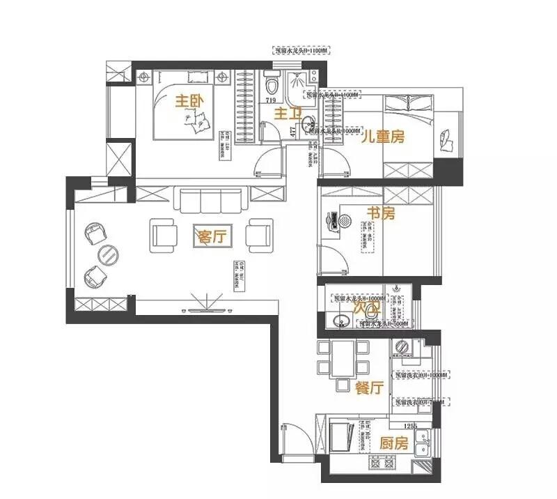 107平 三室二厅一厨二卫